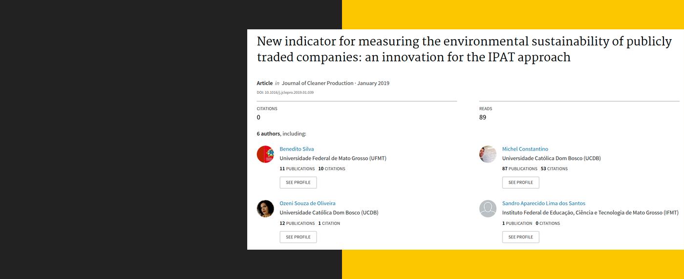 Novo indicador para medir a sustentabilidade ambiental de empresas de capital aberto: uma inovação para a abordagem do IPAT